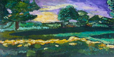 Painting - Spring Sunset With Long Shadows by Angela Annas