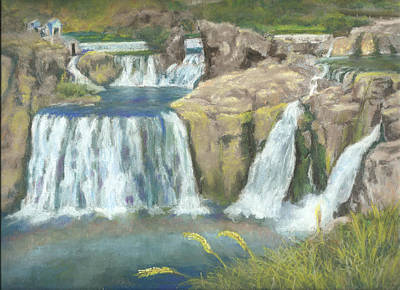Spring Thaw At Shoshone Falls Art Print by Harriett Masterson