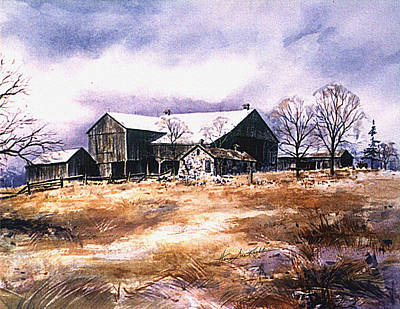 Farm Fields Painting - Spring Thaw by Hanne Lore Koehler