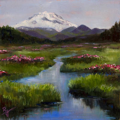Mt. Bachelor Painting - Spring Time by Bonnie Junell