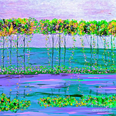 Painting - Spring Tree Reflections by Saundra Myles