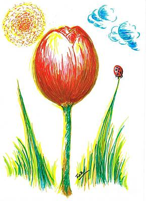 Sunny Day Drawing - Spring Tulip by Teresa White
