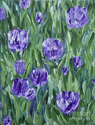 Pallet Knife Painting - Spring Tulips  by Lisa  Telquist