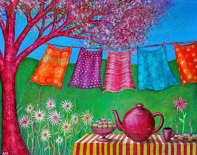 Teapot Painting - Spring Washing Line by Alice Mason