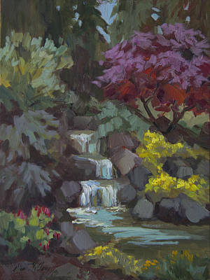 Waterfalls Painting - Spring Waterfall by Diane McClary