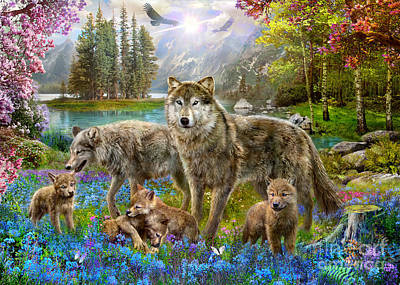 Wolves Digital Art - Spring Wolf Family by Jan Patrik Krasny
