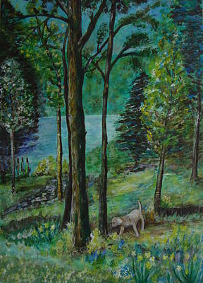 Spring Woodland With Dog - Painting Art Print by Veronica Rickard