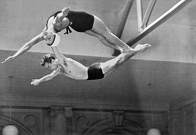 Practise Photograph - Springboard Diving Champions by Underwood Archives