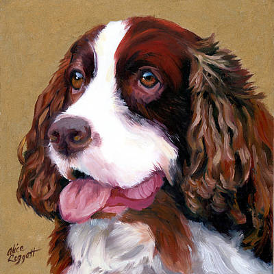 Painting - Springer Spaniel Dog by Alice Leggett