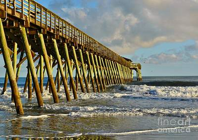 Photograph - Springmaid Pier At Dusk by Kathy Baccari