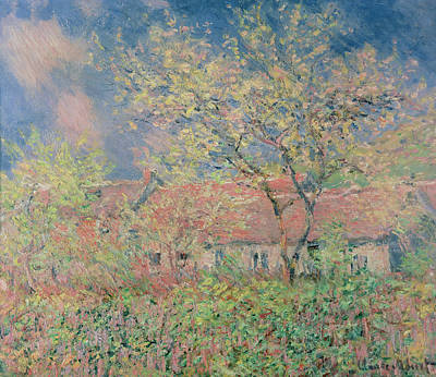 Barn Poster Painting - Springtime At Giverny by Claude Monet