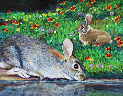 Springtime Cottontail Rabbits Art Print by Charles Wallis