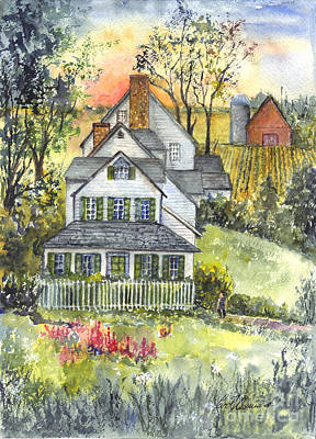 Old Barn Drawing - Springtime Down On The Farm by Carol Wisniewski