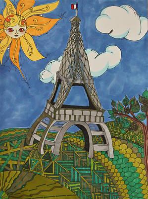 Japanese Tree Drawing - Springtime In Paris by Alexandra Benson