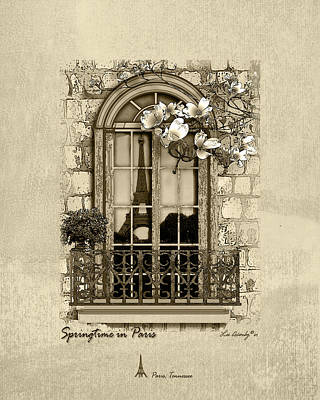 Mixed Media - Springtime In Paris In Sepia by Lee Owenby