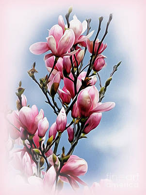 Floral Digital Art Digital Art - Springtime Magnolia by Kaye Menner