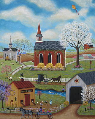 Covered Bridge Painting - Springtime by Mary Charles