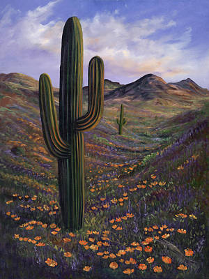 Sonora Painting - Springtime Saguaro In Arizona by Carolyn D Barela