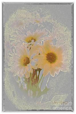Sprinkled Daisies Art Print by Susan  Lipschutz