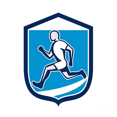 Sprinter Digital Art - Sprinter Runner Running Shield Retro by Aloysius Patrimonio