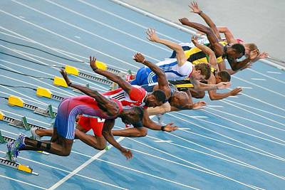 Usain Bolt Photograph - Sprinters Leaving Their Blocks by Science Photo Library