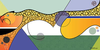 Digital Art - Sprinting Jaguar by David Ralph