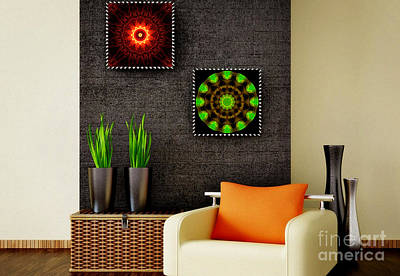 Digital Art - Spritual Shield - Green Serenity - Art Ideas For Interior Design by Hanza Turgul