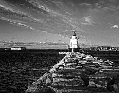 Food And Flowers Still Life - Sprngfield Point Ledge Light 01 BW by Jeff Stallard