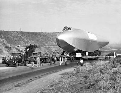 Spruce Goose Hull On The Move Art Print by Underwood Archives