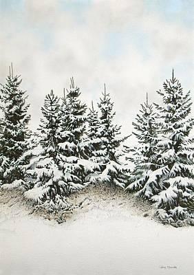 Spruce-trees In Winter Art Print by Conrad Mieschke