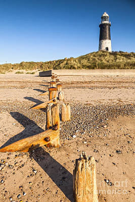 Spit Photograph - Spurn Point Lighthouse And Sea Defences by Colin and Linda McKie