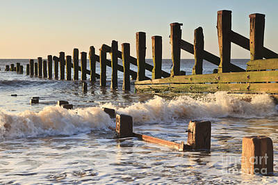 Spurn Point Sea Defence Posts Art Print by Colin and Linda McKie
