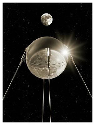 Sputnik 1 In Orbit Art Print by Detlev Van Ravenswaay