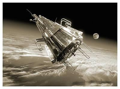 Sputnik 3 In Orbit Art Print by Detlev Van Ravenswaay
