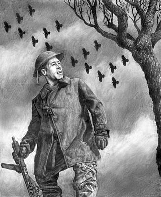 Raven Drawing - Squadron by Mark Zelmer