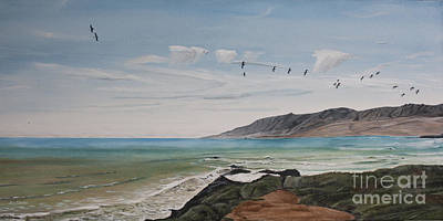 Squadron Of Pelicans Central Califonia Art Print by Ian Donley