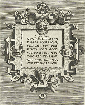 Square Cartouche With A Quote From Seneca Art Print by Frans Huys And Hans Vredeman De Vries And Gerard De Jode