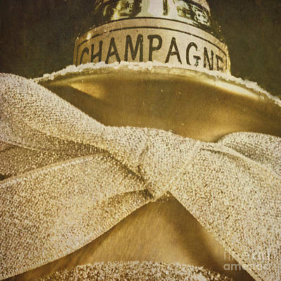 Square Gold Vintage Champagne Ornament Art Print by Birgit Tyrrell