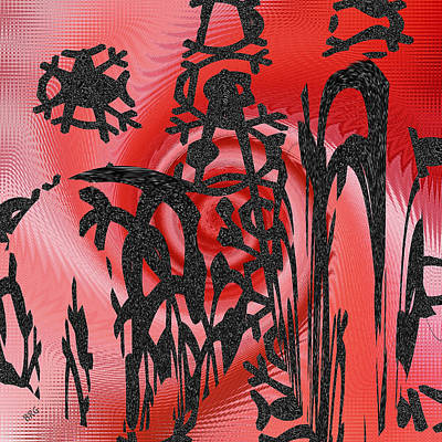 Square In Red With Black Drawing No 3 Print by Ben and Raisa Gertsberg