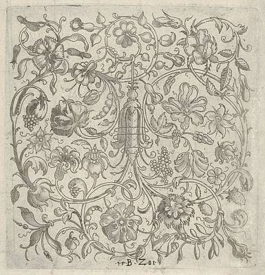 Stipple Drawing - Square Panel With Vegetal Scrollwork by Bernhard Zan