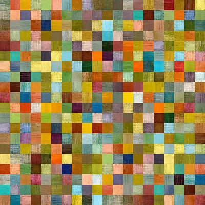 Wood Painting - Square Squares by Michelle Calkins