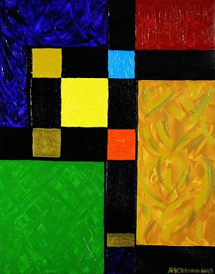 Red Green And Gold Abstracts Painting - Squared by Celeste Manning