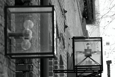 Black And White Photograph - Squre Vintage Lamps by Christopher Jones