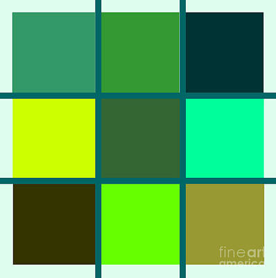 Squares - Green Art Print by Celestial Images