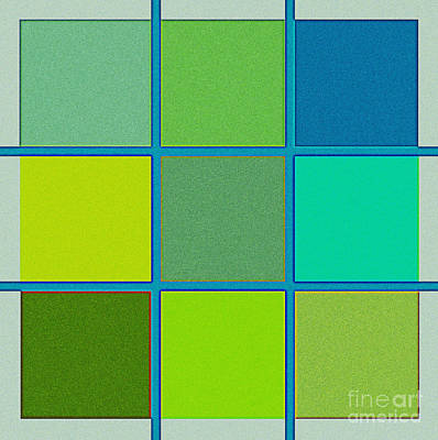Modern Digital Art Drawing - Squares - Green by Celestial Images
