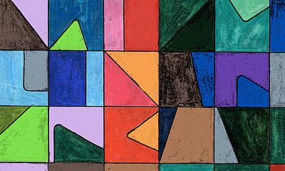 Colored Pencil Abstract Mixed Media - Squares And Triangles by Mary Bedy