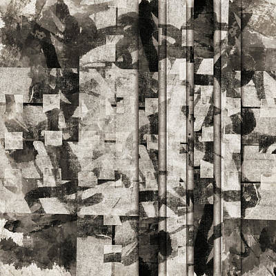 Monochromatic Digital Art - Squares Squared Number 1 by Carol Leigh