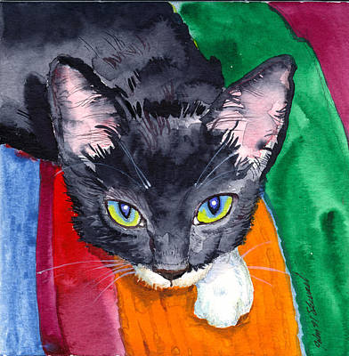Painting - Squeak The Wonder Cat by John Norman Stewart