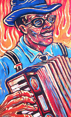 Accordian Painting - Squeezebox Blues by Robert Ponzio