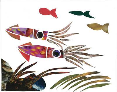 Invertebrates Mixed Media - Squid by Earl ContehMorgan